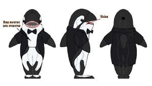 Эскиз ростовой куклы кит, костюма кита