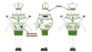 Эскиз ростовой куклы самовар, костюма самовара
