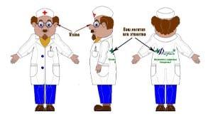 Эскиз ростовой куклы врач, костюма врача