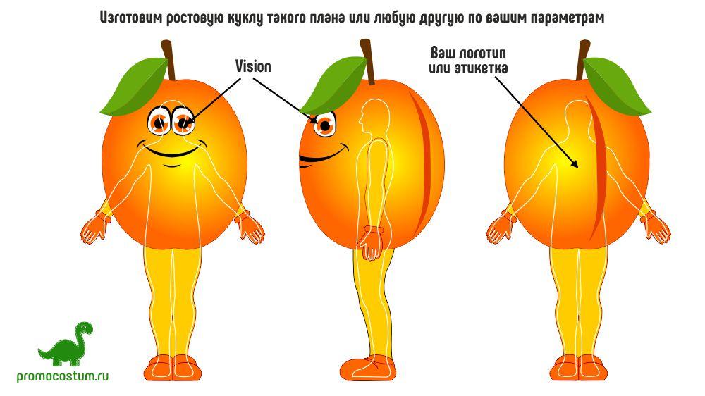 ростовая кукла абрикос, костюм абрикоса