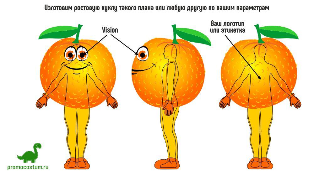 ростовая кукла мандарин, костюм мандарина
