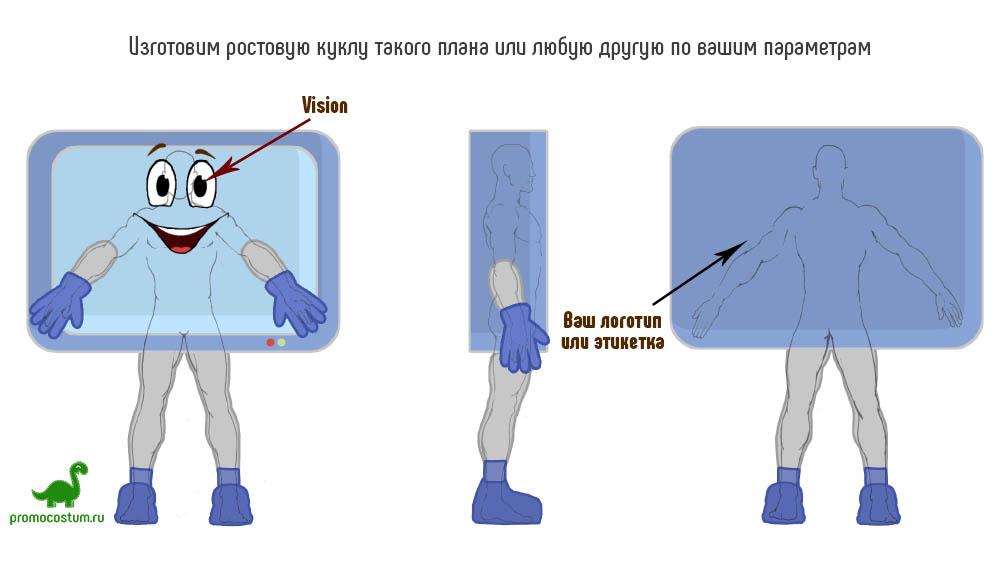 Пример эскиза - ростовая кукла монитор