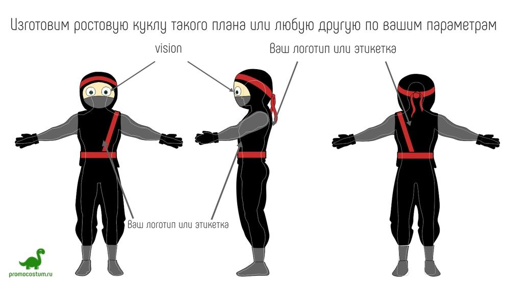 Ростовая кукла ниндзя, костюм ниндзя