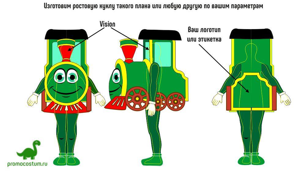 ростовая кукла поезд, костюм поезд
