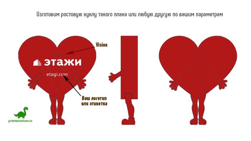 Пример эскиза ростовая кукла сердце