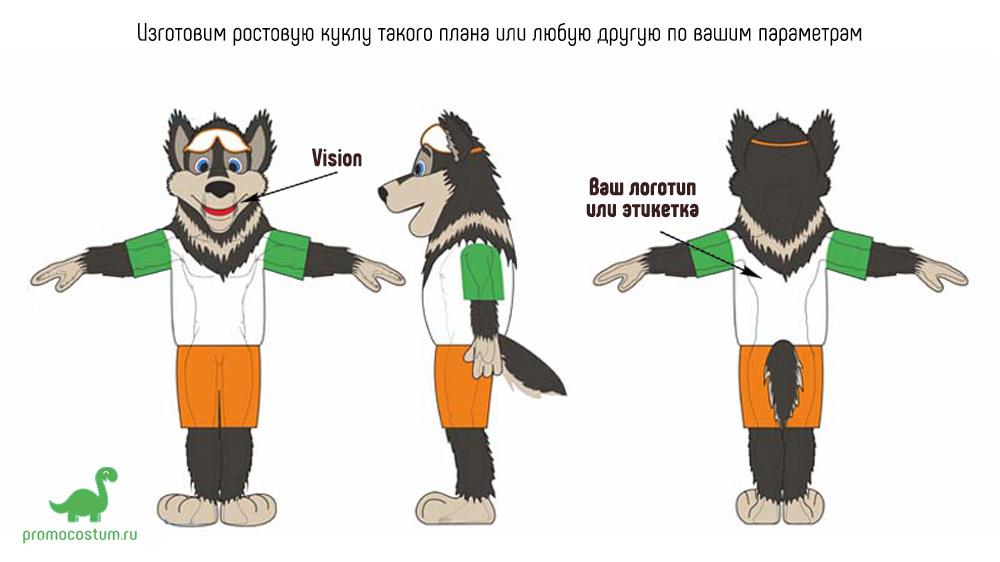 ростовая кукла волк, костюм волка