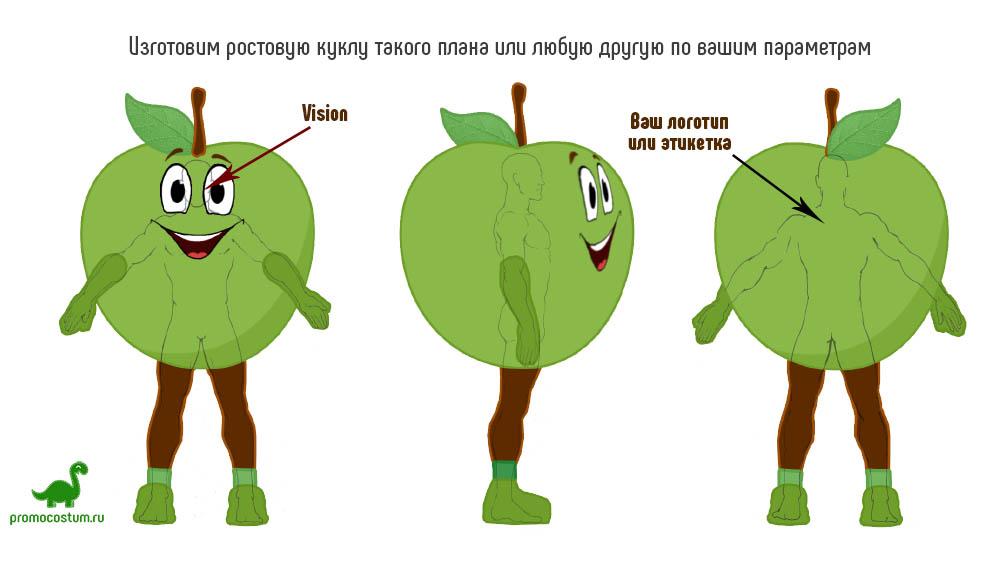 пример эскиза - ростовая кукла яблоко